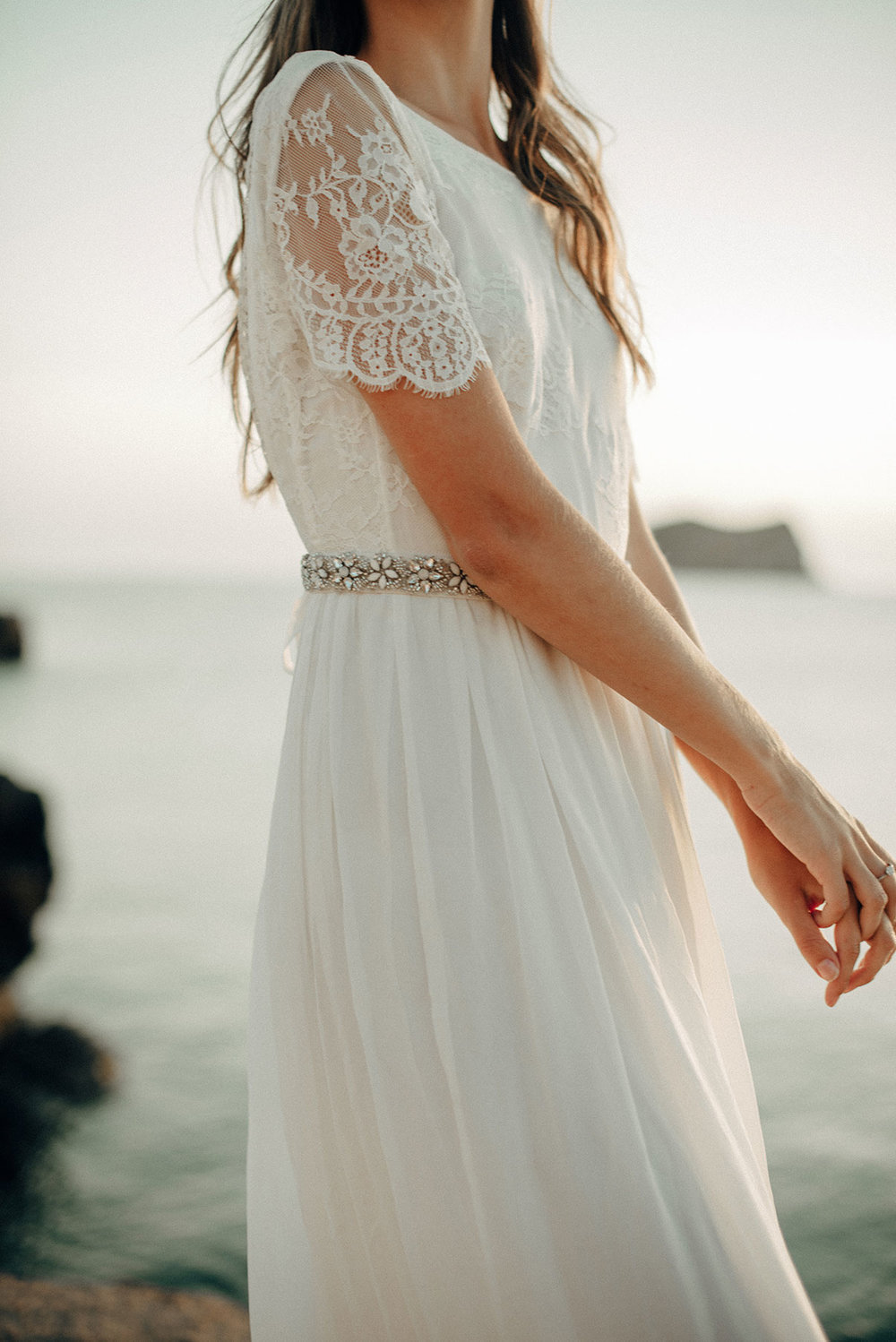 Beach dress - By Luna Bride the beach dress, is light, floaty, comfortable and organic wedding dress. Handmade in the UK it features a gathered silk skirt and soft lace top with a gorgeous low back.