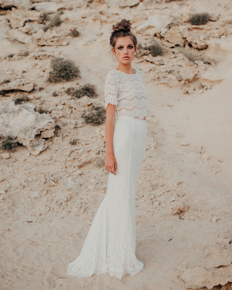 All over lace - Lace bridal two piece by Luna Bride.