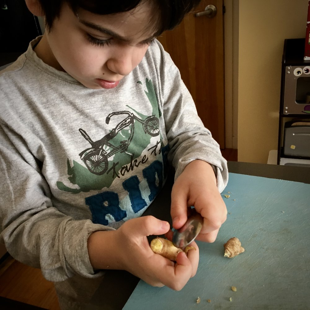 Peel Ginger - With a spoon. Free from your worrisome hovering, kids can safely peel the skin off of ginger root (and turmeric root and potatoes) with a standard teaspoon.