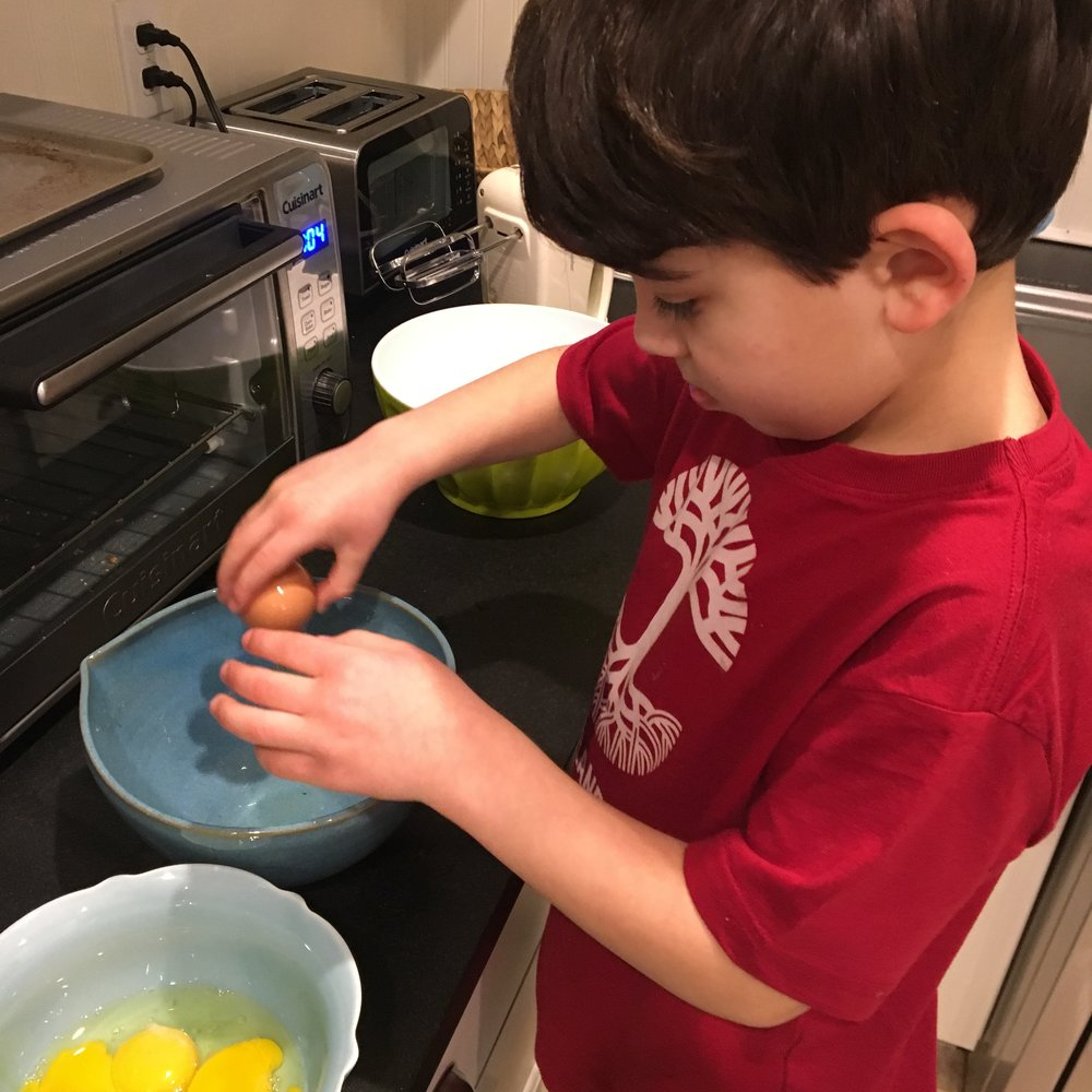 Crack or Separate Eggs - Such a satisfying task. Always provide a separate bowl for eggs to be cracked into just in case a little shell falls in. And use the three bowl method for separating egg yolks from whites in case there's a little cross-contamination.