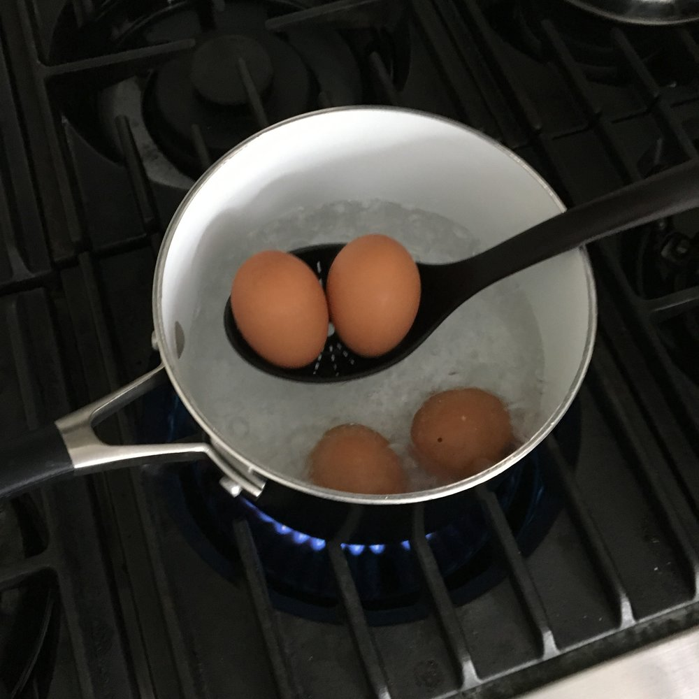 Step 2: Lower eggs into boiling water