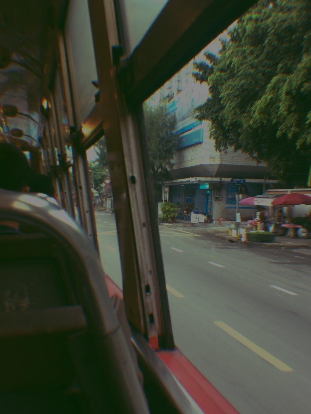 Early morning bus ride in Bangkok