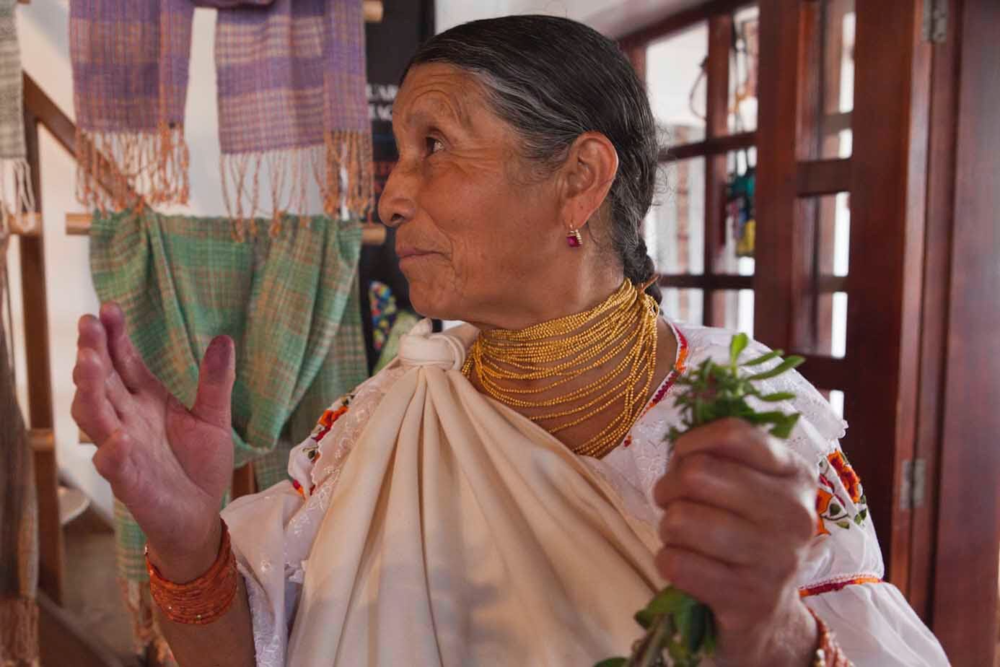 In Ecuador, - we go directly to the workshop and collaborate with the weavers each season.