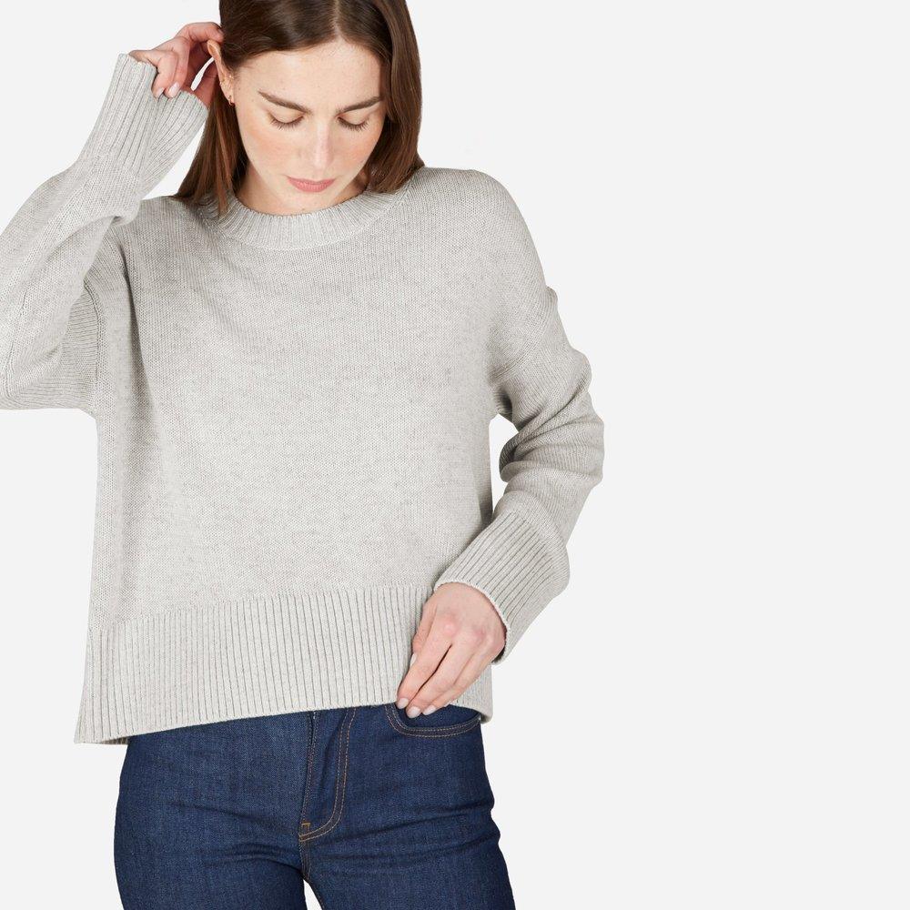 """5. Year-Round Sweater - Something I realized this year is that I have plenty of heavy layers, but nothing light and easy to throw on during the in-between seasons. This oversized and cropped cotton sweater will be my """"cozy up"""" go-to all year round."""
