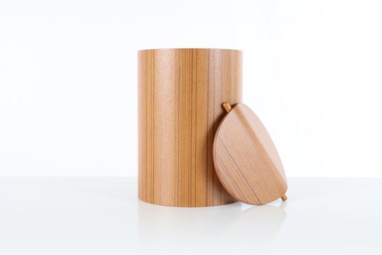 Sale Small Teak Waste Basket With Lid Saito Wood