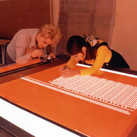Electronic circuits being manually laid out on Rubylith masking film, circa 1970. (Intel Corporation)