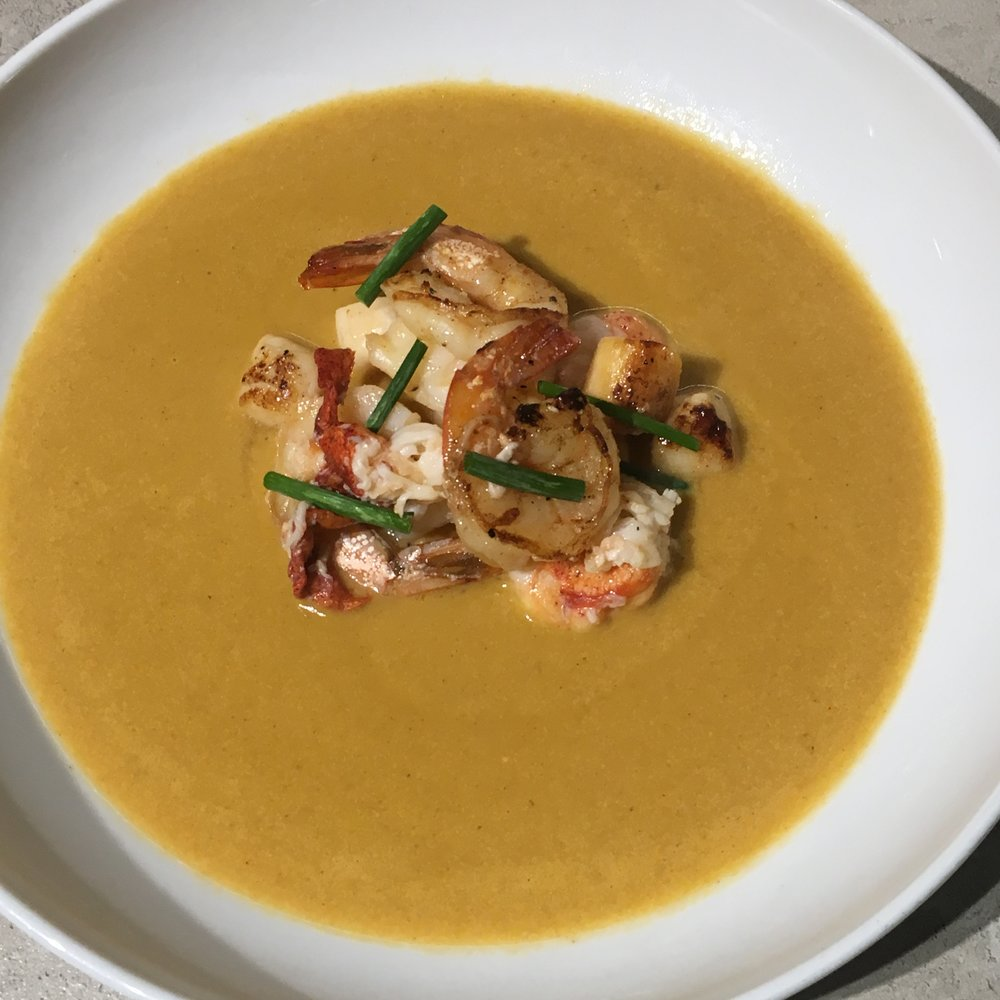 Shrimp Bisque with Shrimp, Lobster, and Bay Scallops.
