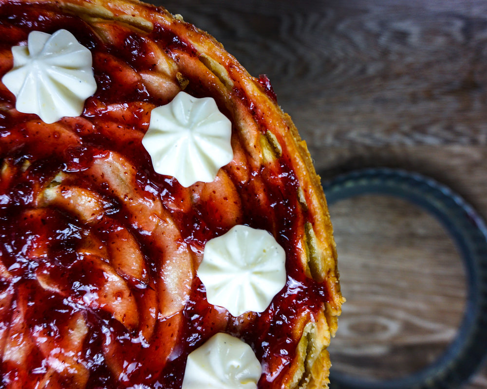 Apple-Frangipane-Lingonberry Tart picture for no particular reason, other than I love this shot.