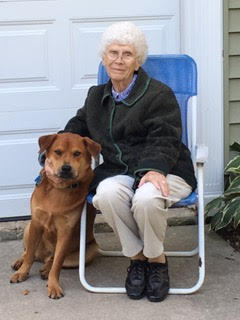 Julie's mother, Elizabeth Meagher with Bo, 2016
