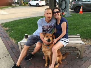 Julie, her husband, Mike and dog, Bo