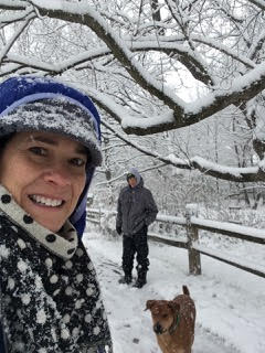 Me, Mike and Bo in the Illinois winter snow
