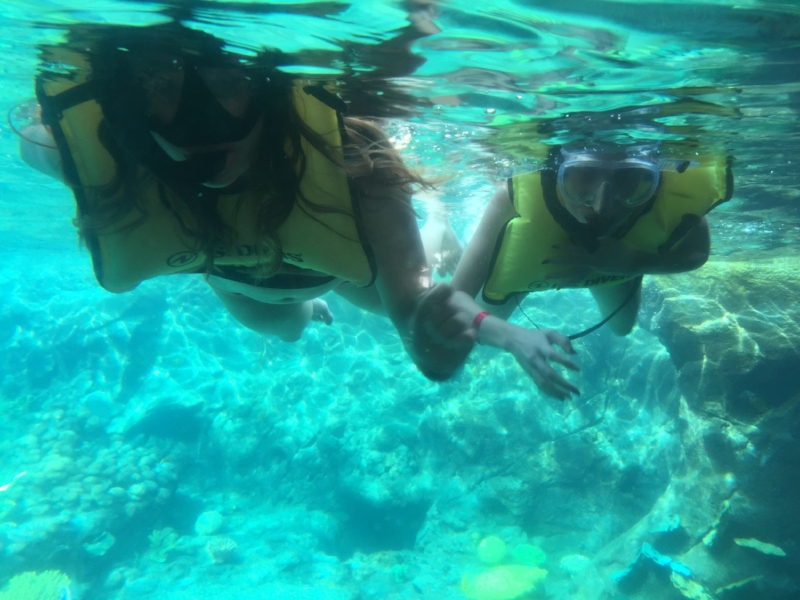 Morgan and me, snorkeling.