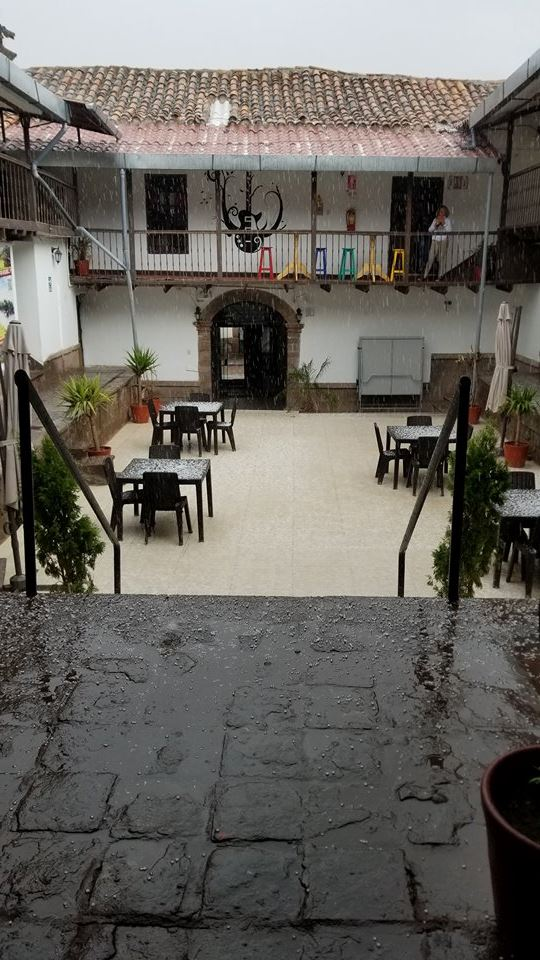 Hail Storm at Magic Packer Hostel, Cusco