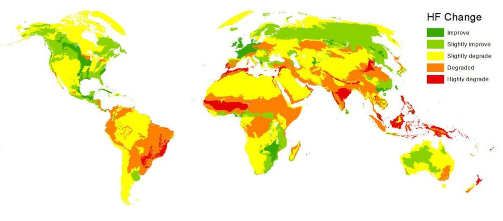 This map shows where humans' impact on the environment increased or decreased from 1993 to 2009.  Courtesy Oscar Venter