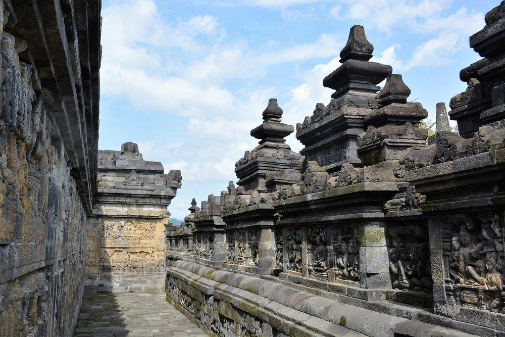 Carvings inside Borobudur Temple