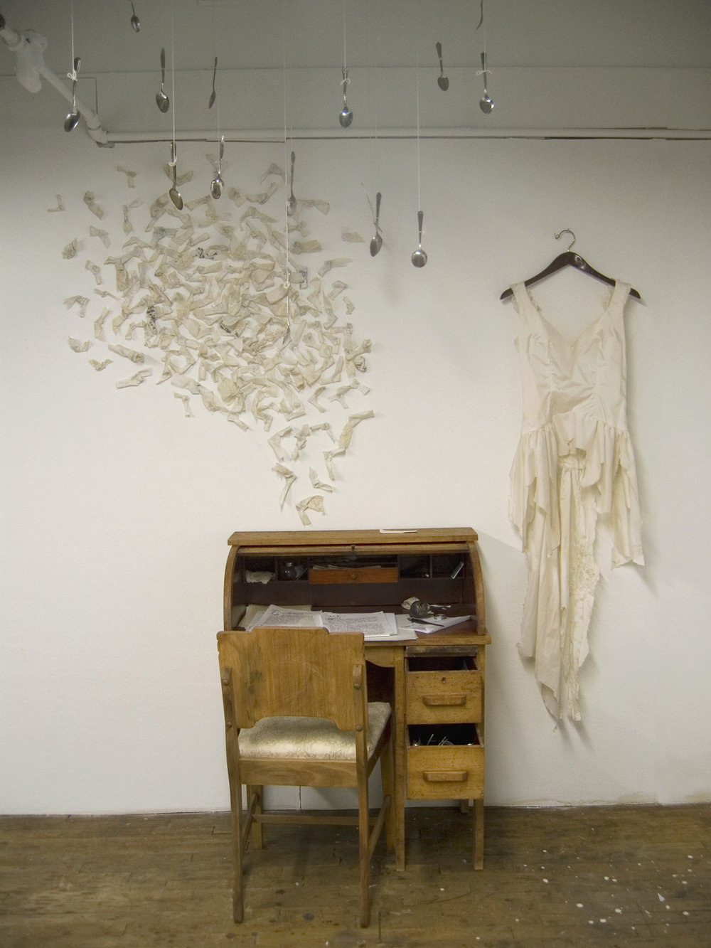 Seshat's desk with gossiping swarm   , 2008, desk, fabric, objects, 7.5 h x 8 h x 3 h feet