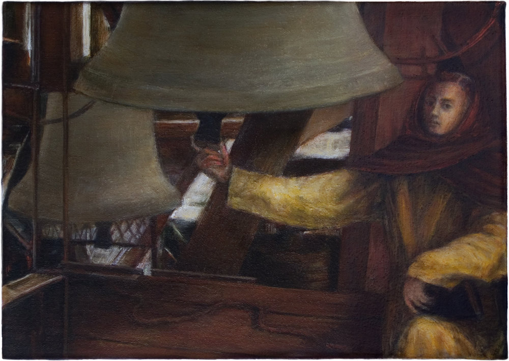 The bell ringer , 2008, oil on canvas, 7 7/8 x 11 in.