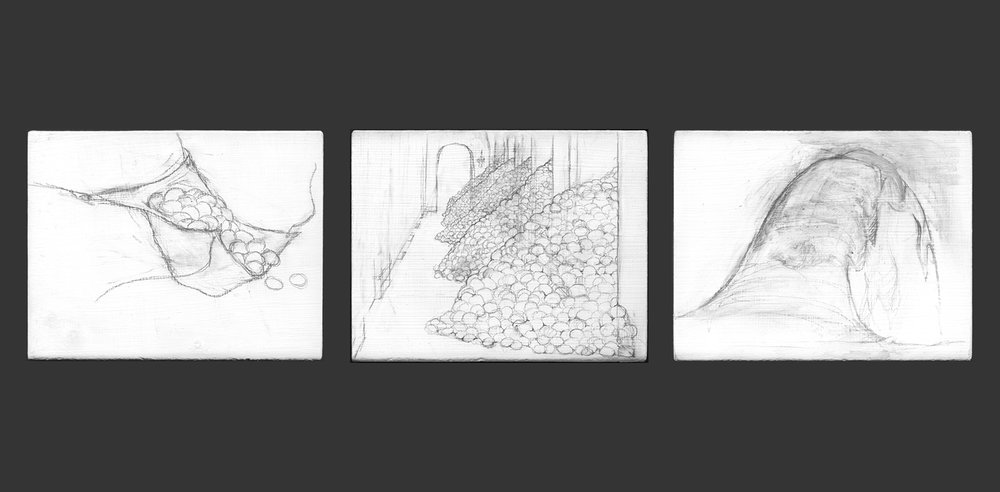 Egg Palace Triptych   , 2008,   graphite on gessoed panel, ea: 3 3/4 x 4 3/4 in.