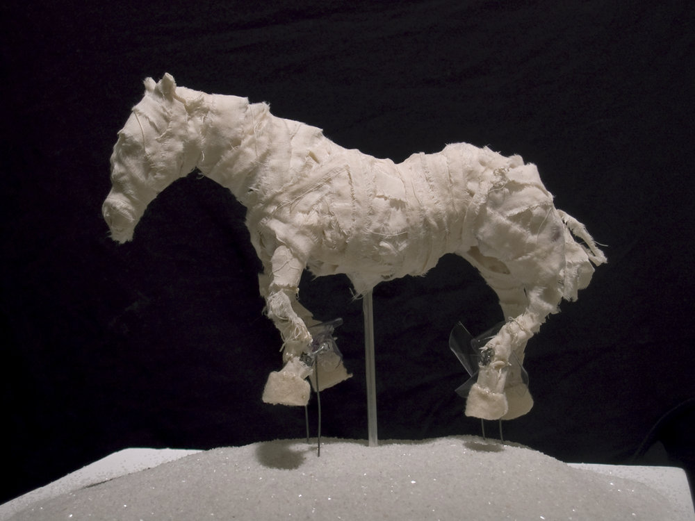 Wind-powered horse ,   2009,     fabric, thread, steel wire, sand, 9  h  x 7  w  x 4  d  in.
