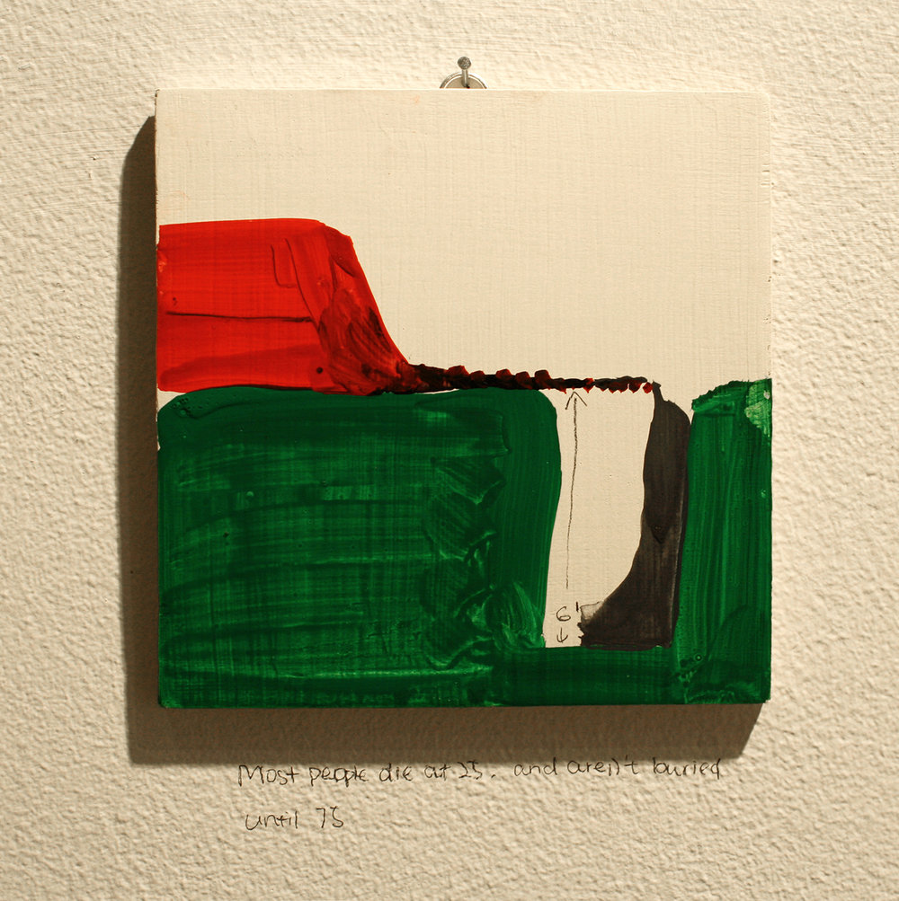Today speak only in pictures , 2013, 1 of 75 completed paintings, acrylic on wood, 5.5 x 5.5 in.