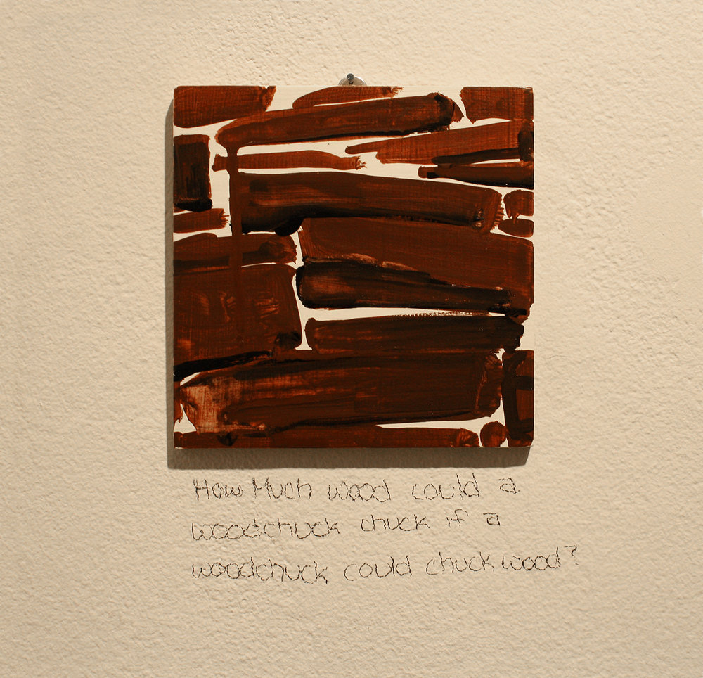 Today speak only in pictures , 2013, 1 of 75 completed paintings, 2013, acrylic on wood, 5.5 x 5.5 in.