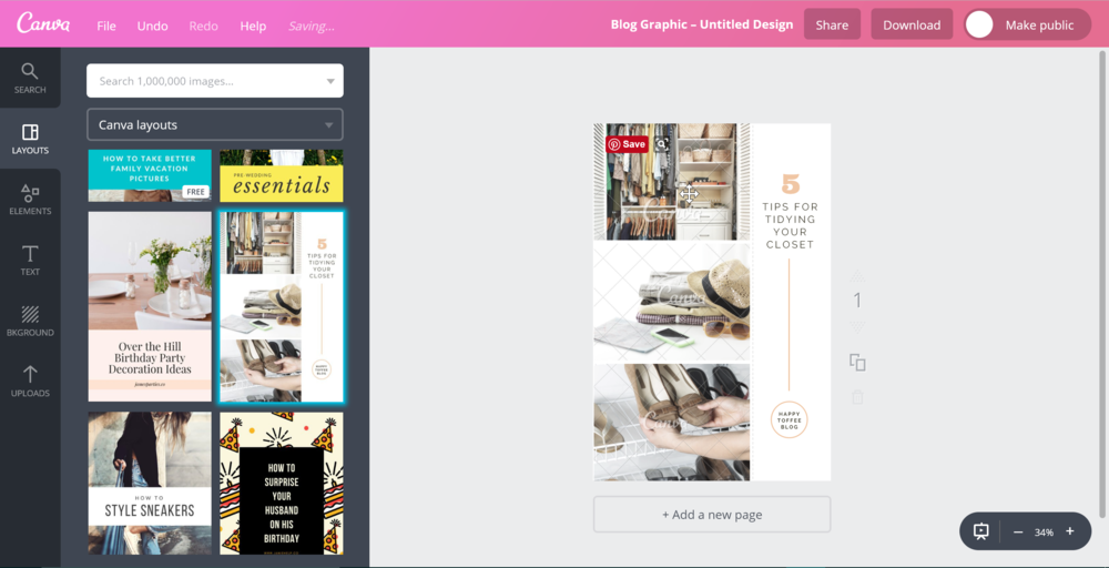 Canva is a super easy to use, drag and drop graphic design tool.