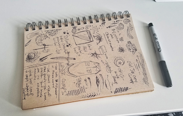 An example of one of my journals - it's a mix of notes, doodles, and drawings of clothing I want to make.