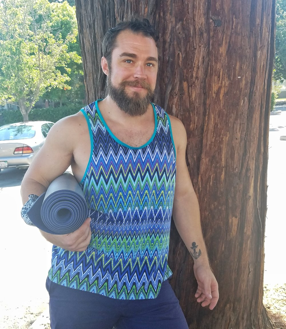 My husband Jeff wearing a tank top I made for him to yoga this morning!