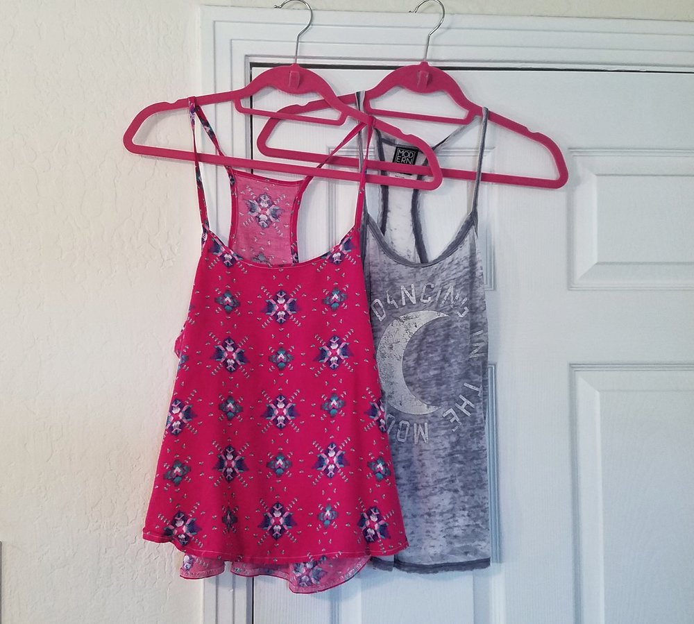 I made the pink tank top by creating a pattern from the blue tank top.