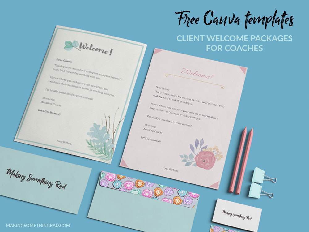 You can get my free client welcome package Canva templates for coaches below!