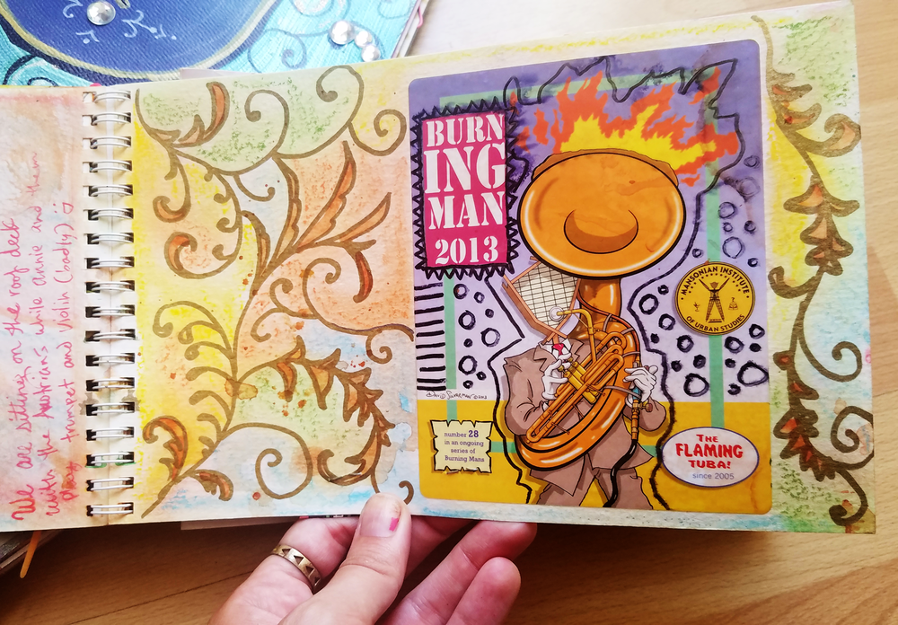 This is one of my Burning Man journals. I am super lucky to camp with David Silverman, the producer of The Simpsons. He always makes amazing stickers to give out as gifts! He also plays the Flaming Tuba (for reals!)