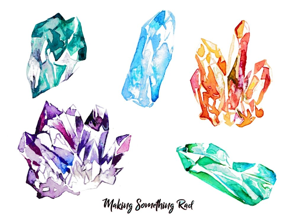 5 watercolor crystal assets to use in Canva - makingsomethingrad.com