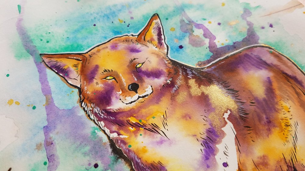 Closeup of Coyote watercolor and ink illustration