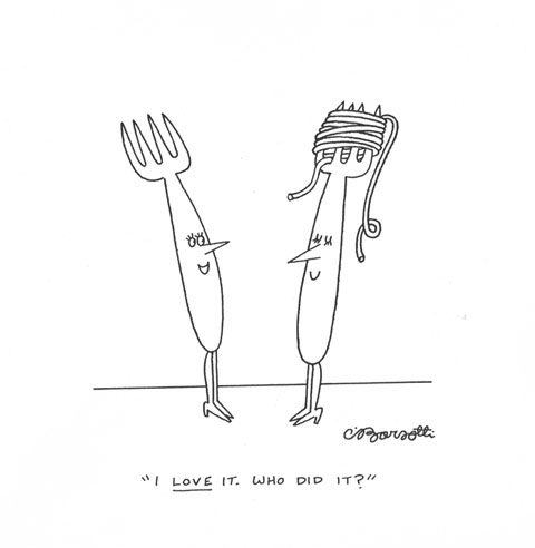 Forks Spaghetti Head - New Yorker Magazine