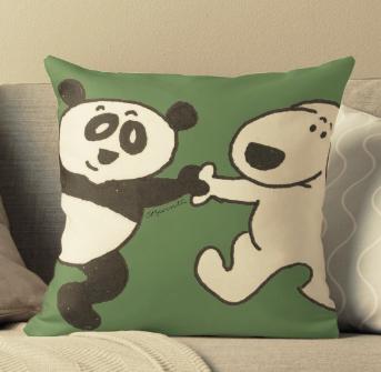 Pup and Panda - throw pillow