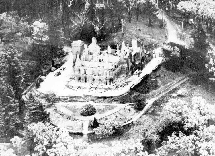 The Governor's mansion lies gutted two days after the Black Sunday bushfire of 1955