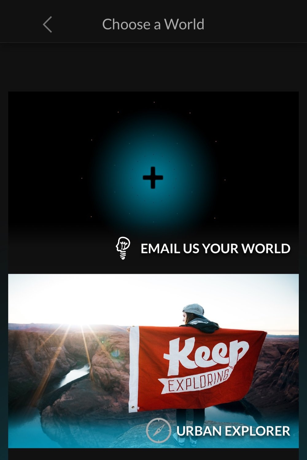 CityXcape ask you to choose a world before showing you secret spots. -