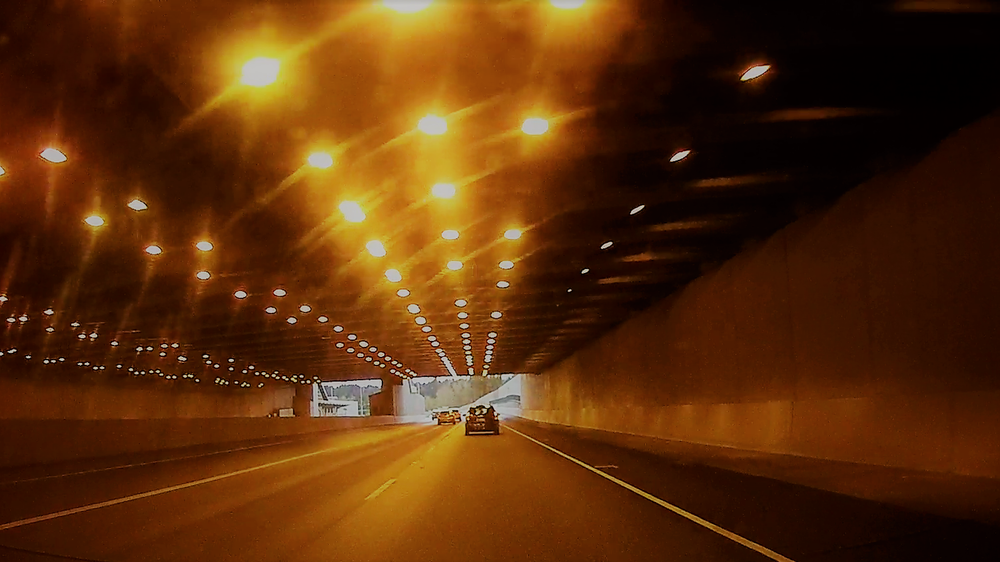 (Tunnel on the 520 bridge, heading west across Lake Washington toward Seattle)
