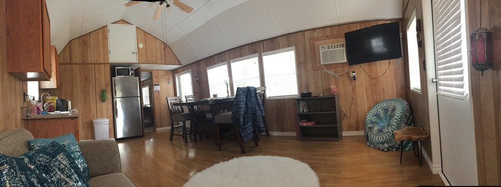 Inside the tiny house, with no heater in sight.