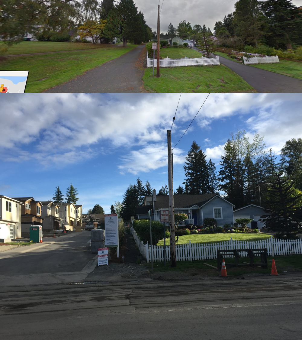 Perspective is off (top is Google Street View), but essentially the same view of my neighbor's property. Original house to the left, behind the lawn and growth (my house is immediately behind it). Bottom picture from yesterday. Lock in on the picket fence if you need orientation.