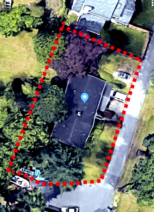The red dotted lines are my property lines. You can see the blurring.