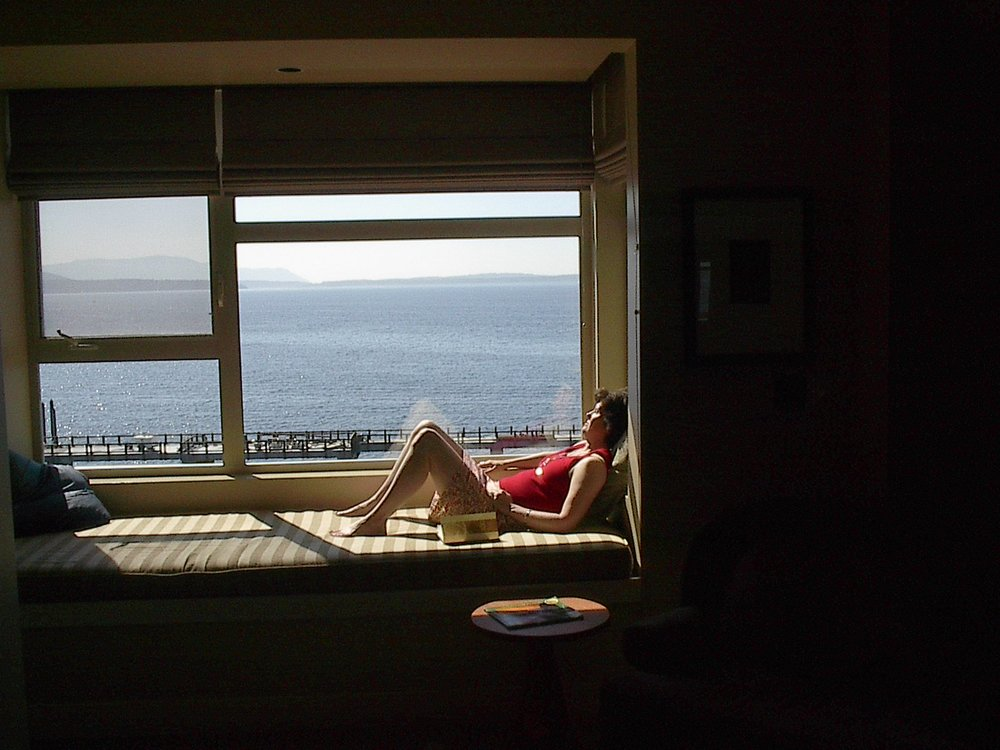 Julie basking in Bellingham on our 21st anniversary, in 2004.