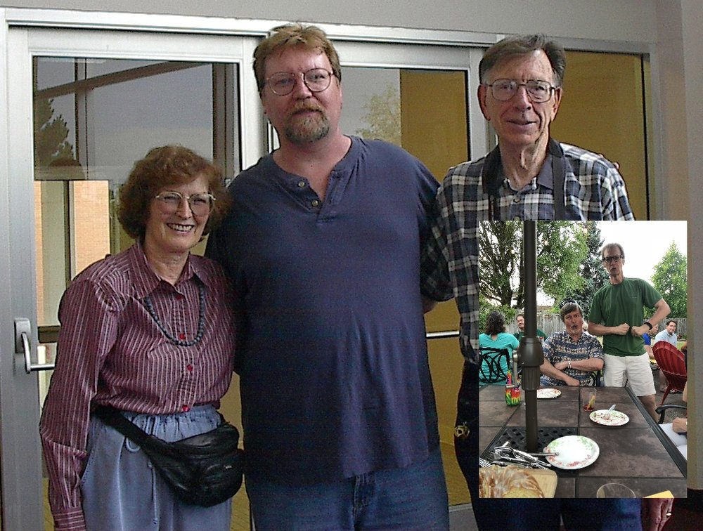 That's me in the middle, age 43, with former professors; inset, my 60th birthday