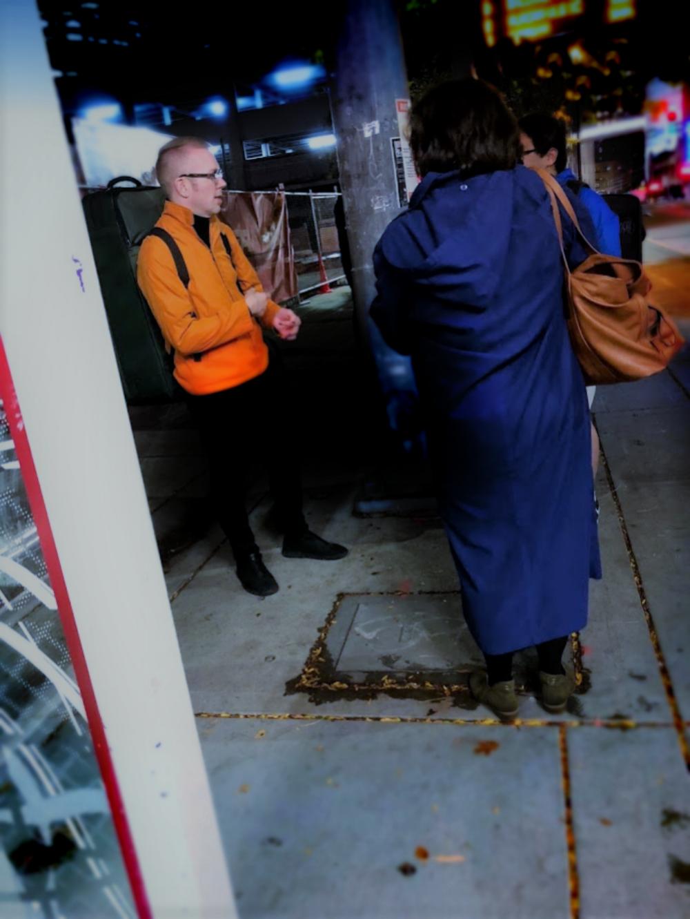 Caleb ran into a fan at the bus stop, fun conversation.