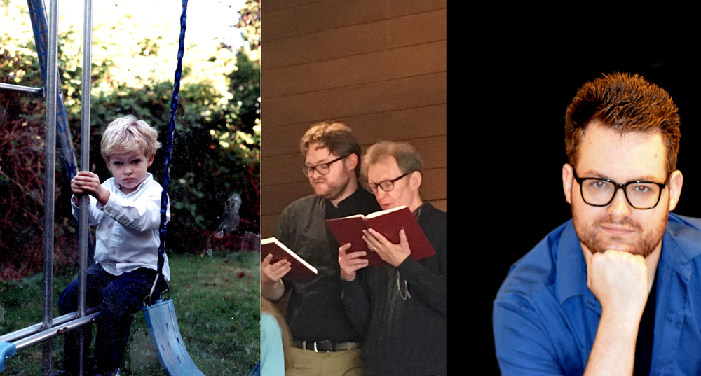 Left to right: 3-year-old John, helping the old guy sing in choir (could that hymnal get closer to my aging eyes?), and today.