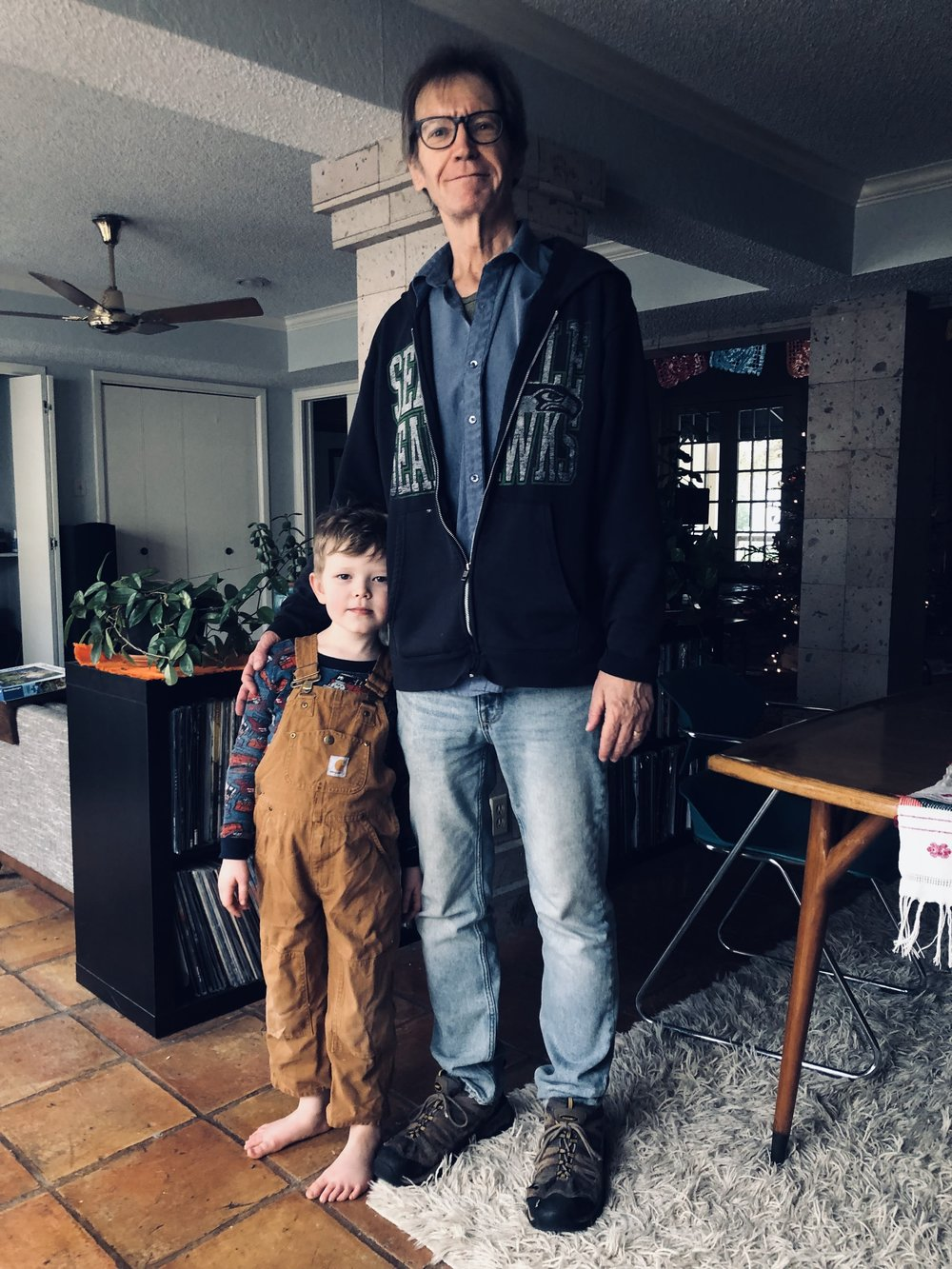 This just makes me think of American Gothic in a way. And those overalls, which we gave him, are about outgrown, but it gives him a Tom Sawyer look I'm liking a lot right now.