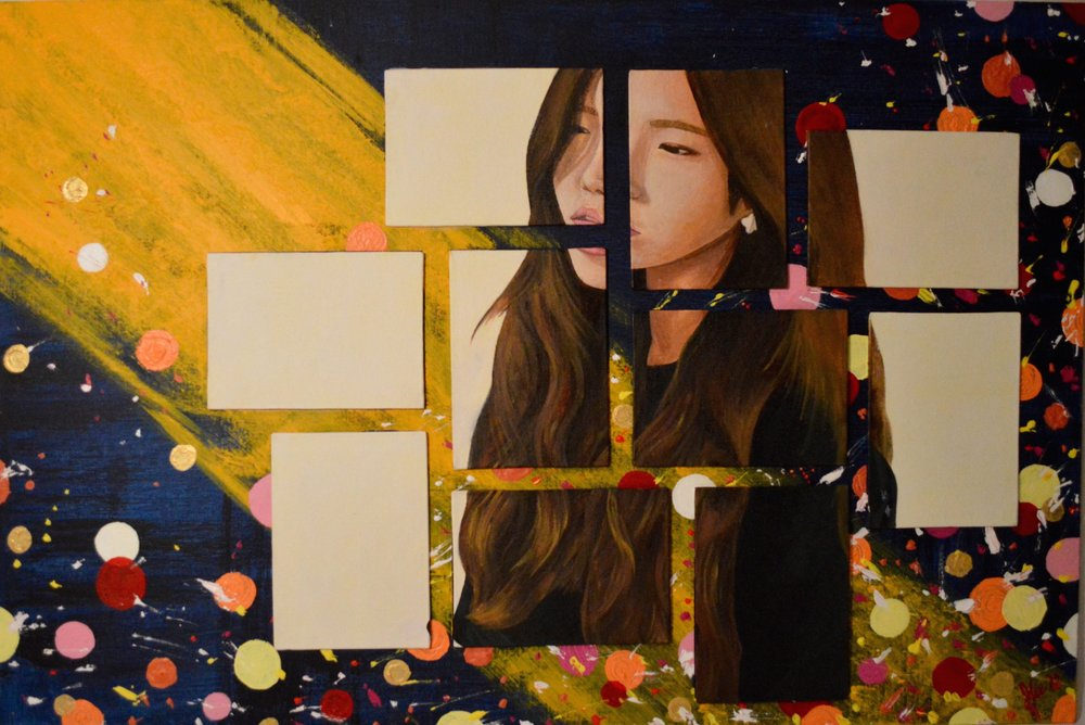juwon lee; 2015 oil paint on small canvases, background in acrylics