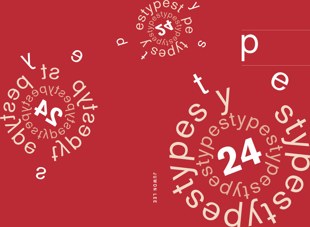 """24 Types; 2017 Cover of a typeface and logotype book """"24 Types"""", created for Typography 1 class at Northeastern"""