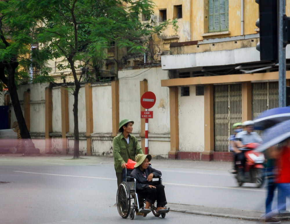 The only people we saw obeying the traffic lights in all Vietnam.