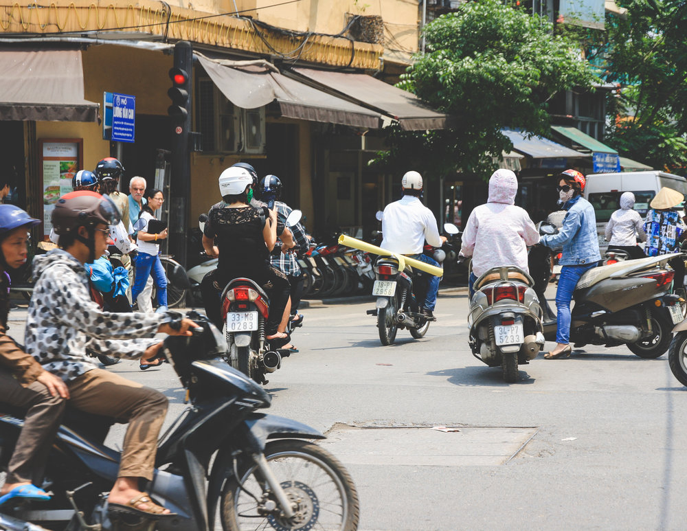 Motorbikes cramming the streets in Hanoi
